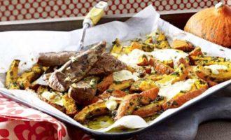Печеная тыква — рецепт с брынзой и бараниной