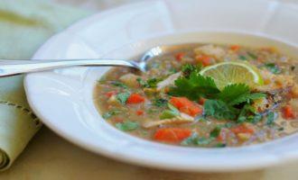 Куриный суп с красной чечевицей и имбирём
