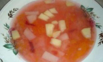 Сладкий яблочный суп с ревенем рецепт